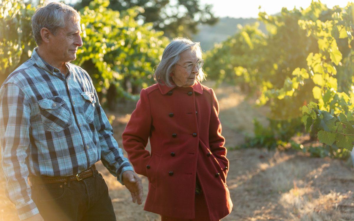 Dad and Grandma in vineyard